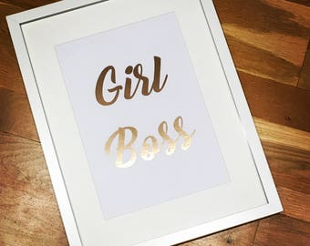 A4 Girl Boss Photo Frame Print Effect Inspirational Quote Poster