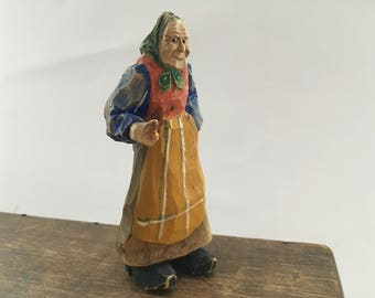 Vintage hand carved figurine Old women statue Wooden statue Folk Art