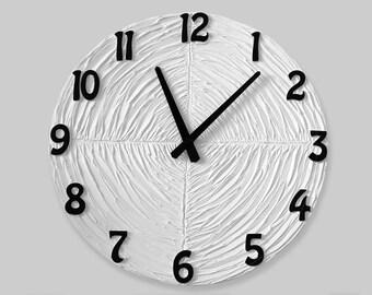 GROßE Wanduhr, White Uhr, Hochzeitsgeschenk, Weiße Wand Uhr, Moderne Wanduhr,  Einzigartige Wanduhr,