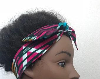 African headband, rockabilly headband, pinup headscarf, yoga headband, ankara head wrap