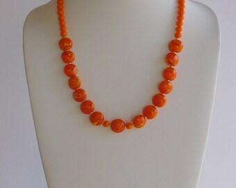 Orange Lampwork Beaded Necklace Set
