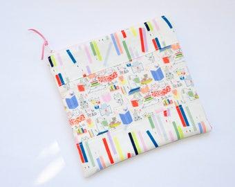 Zipper pouch - pencil case  - school case -   Zipper Bag -   makeup case  -