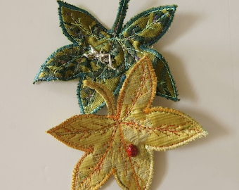 Leaf Hair Clips Sweetgum Leaves Yellow Green Textile Botanical Woodland Accessories Natural History Plant Nature Lover Gift Free Shipping