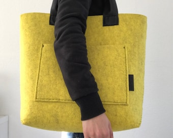 Marbled yellow felt tote bag, big market tote and purse