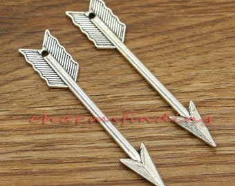 10pcs Large Arrow Charms 2 Sided Charms Antique Silver Tone 11x62mm cf0282