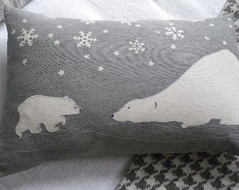 Handprinted exclusive  snow flake polar bear mother and cub cushion cover