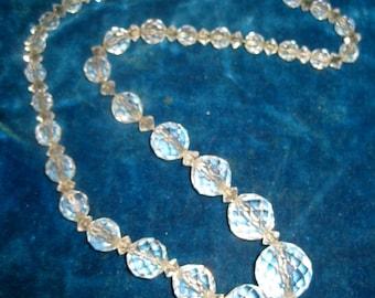 Vintage Czechoslovakian Crystal Glass Necklace