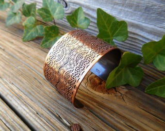Metal Lace Cuff, Wide Cuff Bracelet, Etched Copper Cuff, Copper Bracelet, Copper Jewelry, Ready to Ship, Unique Gift for Her, Lace Pattern