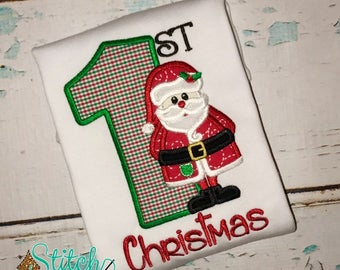 1st Christmas Santa Applique, Santa Applique, Santa Shirt, Santa Romper, Christmas Applique, Christmas Shirt, Santa Claus, Santa Claus Tee