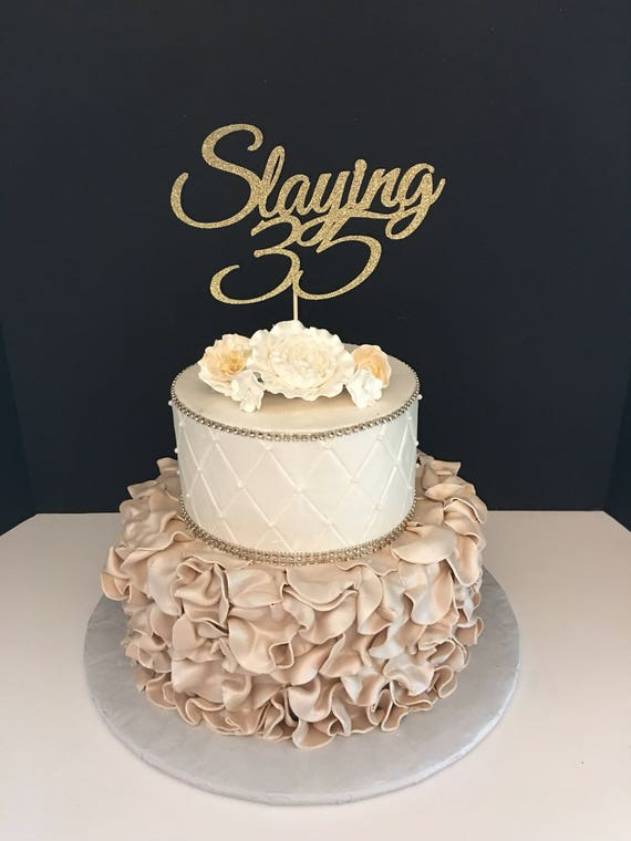 Preferred ANY NUMBER Gold Glitter 35th Birthday Cake Topper Slaying 35 BB55