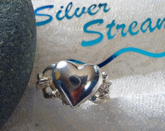 Heart Puzzle Ring, 4 Band Puzzle Ring Sterling Silver, Love Ring, Heart Ring, Big Heart Ring, Unusual Puzzle Ring, Valentine Puzzle Jewelry
