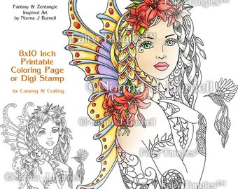Fay Lily - Fairy Tangles Printable Coloring Book Pages by Norma J Burnell 8x10 Coloring Book Sheets for Adults Fairies to Color