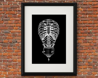 Digital Download Art Print - Skeleton Bones Lightbulb Digital Artwork - Ribcage Black and White Print - Skeleton Decor - 8x10 Wall Art