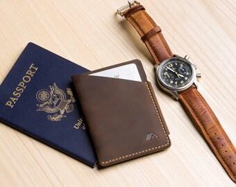 Ultra Slim Leather Card Sleeve / Minimalist Wallet - A-SLIM - Raw Tan - Ninja - Card case - Card wallet - Front Pocket Wallet