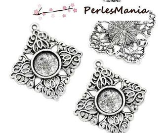 2 support of flower PENDANT lace (S1129382) ANTIQUE silver metal