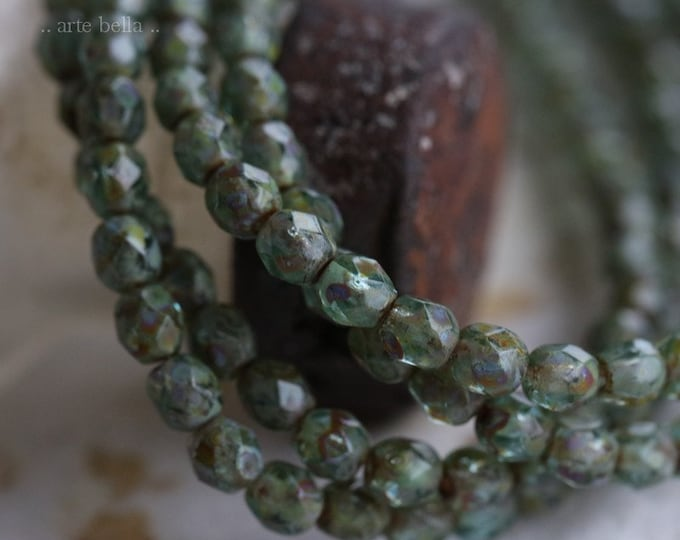 RIVER PEBBLES No. 2 .. NEW 50 Premium Picasso Faceted Czech Glass Beads 4mm (6239-st)