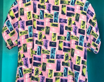 VTG 80s André Sauvage Pink Abstract Short-Sleeved Top