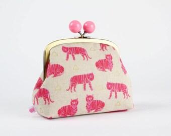 Metal frame clutch bag - Tigers in pink - Color bobble purse / Sarah Golden / Hot pink metallic gold / flower buds
