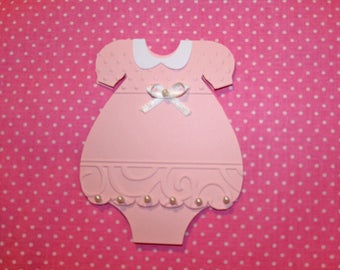 Send personalized baptism or baby girl-shaped dress with embossing