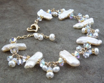 Stick Pearl Bracelet, Bridal White, Gold Filled, Beach Wedding Gift, Elegant Bride Jewelry, Mother of the Bride, Natural Biwa Pearls, Unique