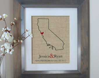 California State Map, Personalized California Wedding Gift, Guest Book, Anniversary Gift, Bridal Shower, Wedding Map, Burlap Art Print