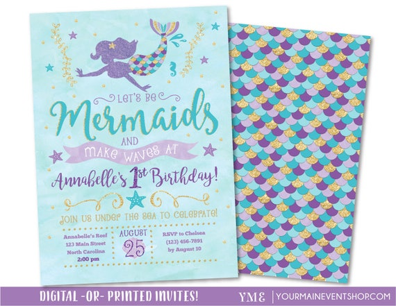 Mermaid Invitation • Mermaid Birthday Invitation • Let's Be Mermaids and Make Waves • Teal Purple Gold
