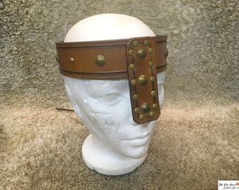 Heavy leather customizable barbarian crown, Conan the barbarian inspired. Now with nose length options.