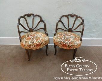 Vintage Hollywood Regency Pair Of Barrel Spider Back Chairs