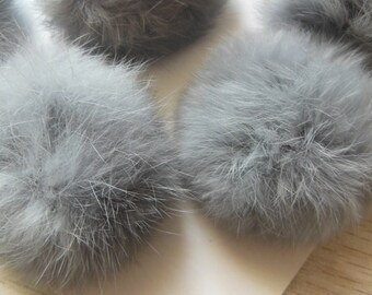 3pcs 6cm Gray Real Rabbit Fur Ball Rabbit Fur Pom Poms