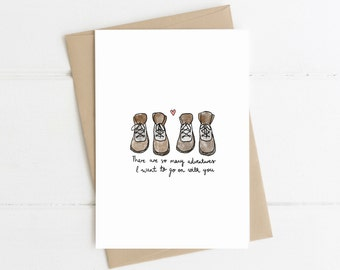Adventure Greeting Card // Hiking boots card //