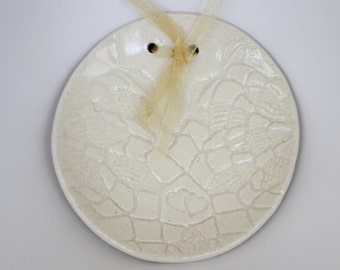 White Lace Ring Bearer Dish and or Hanging Decor