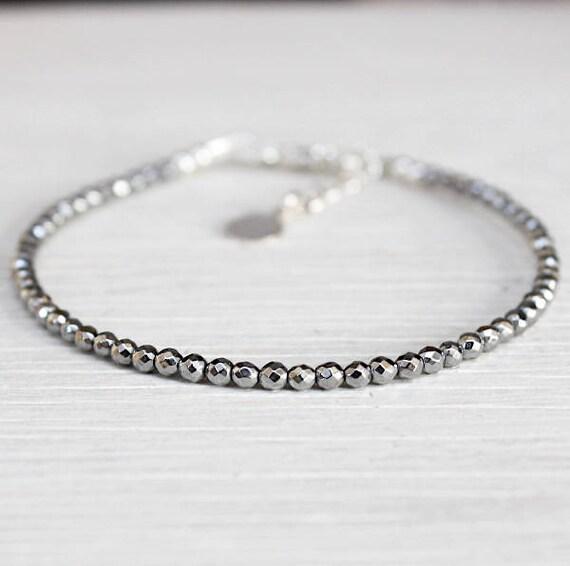 Bracelet fine woman faceted silvery Hematite gemstones