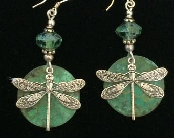 Dragonfly earrings, Silver dragonfly earrings, patina earrings, sterling silver, dragonfly jewelry