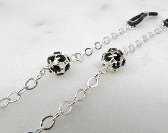 Silver Eyeglasses Chain with  Jet Swarovski Crystal Balls, Glasses Lanyard, Reading Glasses Chain, Eyeglass Chain, Cord for Readers