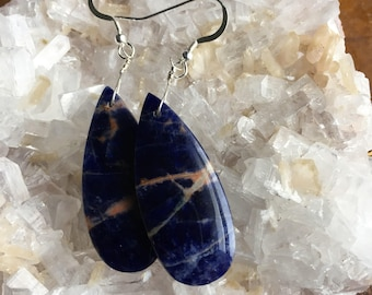 Sodalite and Sterling Silver Earrings - Free U.S. Shipping
