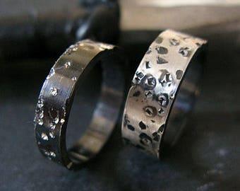 Mens Wedding Band Mens Wedding Ring Starry Night Ring Unique Mens Wedding Band Sterling Silver Wedding Band Set Black Wedding Band 6mm 8mm