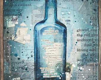 Message in a Bottle No. 24 | Original Painting | Rustic Beach Art | Word Art | Mixed Media Art | New England Art