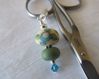 Ivory with Blue and Green Scissor Fob