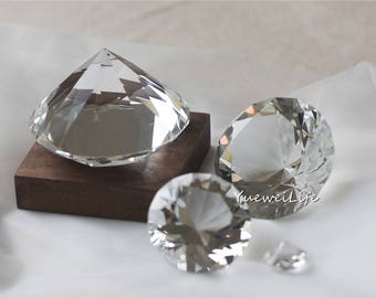 Clear Cut Glass Diamond, Crystal Diamond Shaped Paper Weight, Unique Ring Holder, Sparkly Wedding Table Decor, Office Home Decor