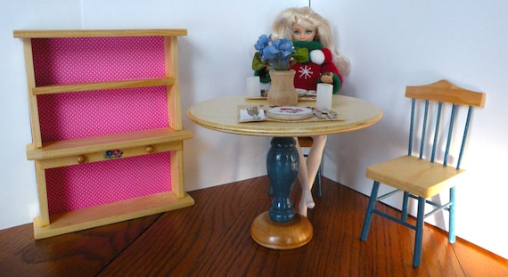 barbie dining room set | Barbie Wooden Dining Room Set: 2 chairs table cutlery