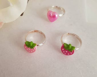 Girls strawberry and love heart ring