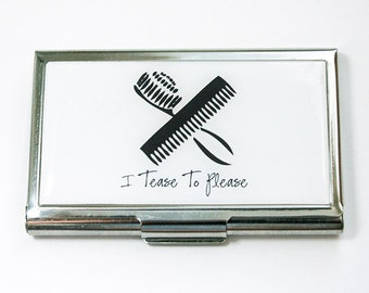 Business Card Holder, Business Card Case, Hairdresser, cute Card case, Hair Stylist, Gift for hairdresser, I Tease To Please (4486)