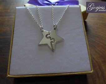 Star Pendant - Best Friend Necklaces - Silver Star Charms - Handmade Star Puzzle Necklace