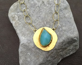 Blue Peruvian Opal and Gold Necklace