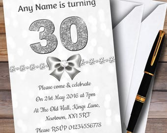 White Bokeh & Silver Glitter Look 30Th Personalised Birthday Party Invitations