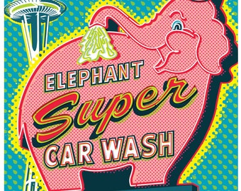 Elephant Car Wash, seattle print, Space Needle poster, Seattle wall art, Poster, Seattle art print, Seattle Wall Art, Wall decor, Home decor