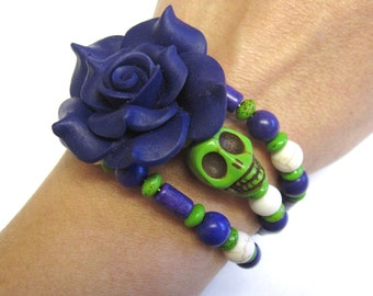 Day Of The Dead Bracelet Sugar Skull Jewelry Wrap Green White Purple Rose