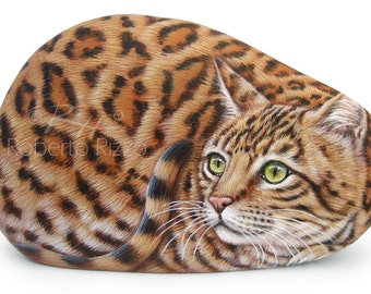 Incredibly Fine Detailed Bengal Cat Hand Painted on a Natural Sea Rock! Stone Painting Fine Art by Roberto Rizzo