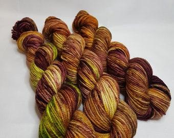 Hand dyed Merino yarn, ARAN weight, 100g, YESTERDAY