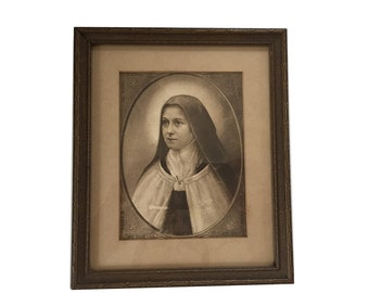Antique Lithograph Saint Thérèse de Lisieux -  The LIttle Flower Framed - I Want To Spend My Heaven by Doing Some Good Upon the Earth.